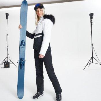 Swarovski Embellished - Bejewel Luxe wasserdichte, isolierte Skijacke mit Kapuze mit Pelzbesatz für Damen Weiß