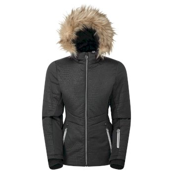 Dare 2b Swarovski Embellished - Women's Auroral Waterproof Insulated Fur Trim Hooded Luxe Ski Jacket - Black