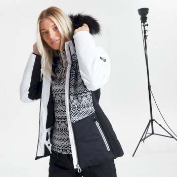 Dare 2b Swarovski Embellished - Women's Auroral Waterproof Insulated Fur Trim Hooded Luxe Ski Jacket - Black White