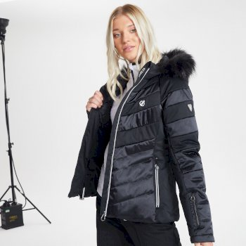 Dare 2b Swarovski Embellished - Women's Dazzling Waterproof Insulated Quilted Fur Trim Hooded Luxe Ski Jacket - Black