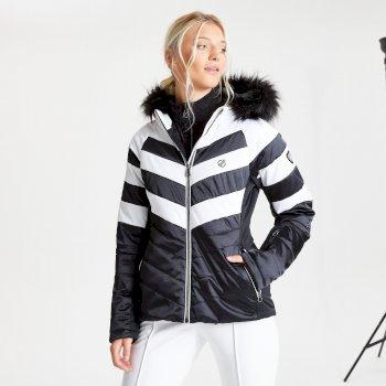 Swarovski Embellished - Dazzling Luxe wasserdichte, isolierte, gesteppte Skijacke mit Kapuze mit Pelzbesatz für Damen Schwarz