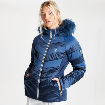 Dare 2b Swarovski Embellished - Women's Dazzling Waterproof Insulated Quilted Fur Trim Hooded Luxe Ski Jacket - Dark Denim Nightfall Navy