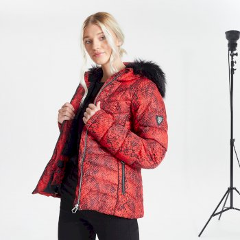 Dare 2b Swarovski Embellished - Women's Glamorize II Waterproof Insulated Quilted Fur Trim Hooded Luxe Ski Jacket - Seville Red