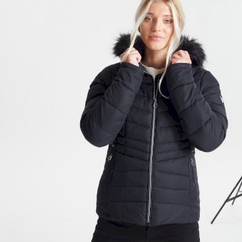 Dare 2b Swarovski Embellished - Women's Glamorize II Waterproof Insulated Quilted Fur Trim Hooded Luxe Ski Jacket - Black
