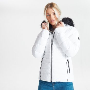 Dare 2b Swarovski Embellished - Women's Glamorize II Waterproof Insulated Quilted Fur Trim Hooded Luxe Ski Jacket - White