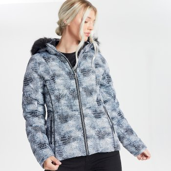 Dare 2b Swarovski Embellished - Women's Glamorize II Waterproof Insulated Quilted Fur Trim Hooded Luxe Ski Jacket - Monochrome
