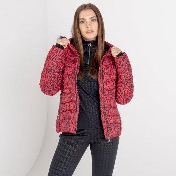 Swarovski Embellished - Glamorize II Luxe wasserdichte, isolierte, gesteppte Skijacke mit Kapuze mit Pelzbesatz für Damen Rot