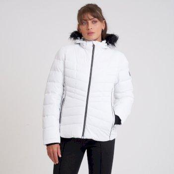 Swarovski Embellished - Glamorize II Luxe wasserdichte, isolierte, gesteppte Skijacke mit Kapuze mit Pelzbesatz für Damen Weiß