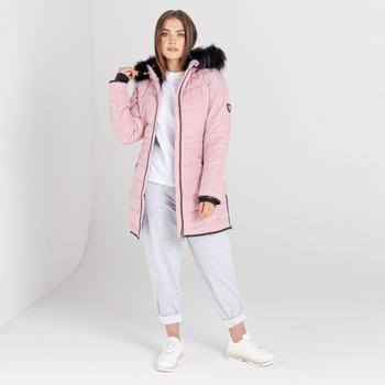Swarovski Embellished - Striking Luke wasserdichte, isolierte, gesteppte Parka-Skijacke mit Kapuze mit Pelzbesatz für Damen Rosa