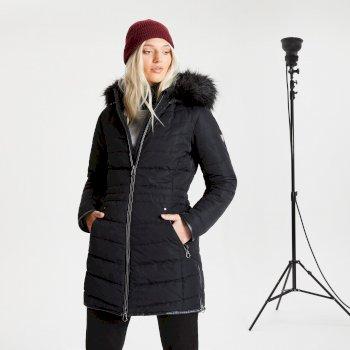 Swarovski Embellished - Striking Luke wasserdichte, isolierte, gesteppte Parka-Skijacke mit Kapuze mit Pelzbesatz für Damen Schwarz