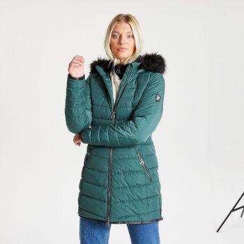 Swarovski Embellished - Striking Luke wasserdichte, isolierte, gesteppte Parka-Skijacke mit Kapuze mit Pelzbesatz für Damen Grün
