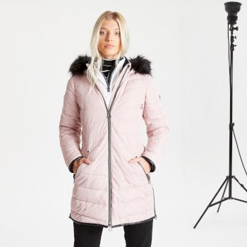 Dare 2b Swarovski Embellished - Women's Striking Waterproof Insulated Quilted Fur Trim Hooded Parka Luke Ski Jacket - Pale Mauve