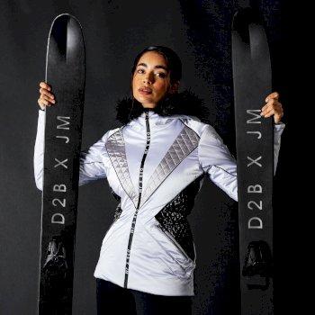 Dare 2B X Julien Macdonald - Frauen prächtige wasserdichte isolierte Skijacke Weiß
