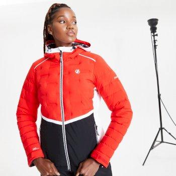 Vividly wasserdichte, isolierte, gesteppte Skijacke mit Kapuze für Damen Rot
