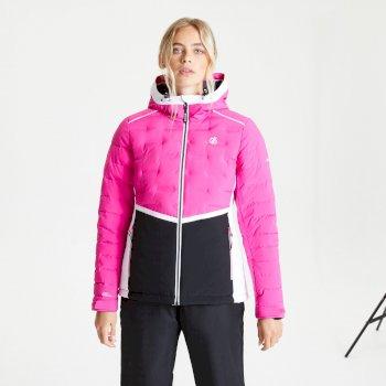 Vividly wasserdichte, isolierte, gesteppte Skijacke mit Kapuze für Damen Rosa