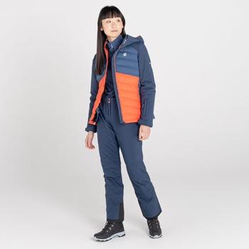 Coded wasserdichte, isolierte Skijacke für Damen Blau