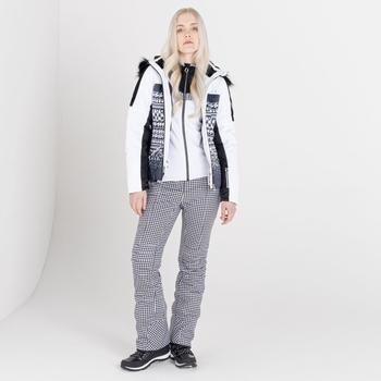 Mit Swarovski verziert- Prestige luxuriöse, wasserdichte, isolierte Skijacke mit Kapuze und Pelzbesatz für Damen Weiß
