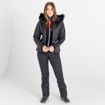 Mit Swarovski verziert- Prestige luxuriöse, wasserdichte, isolierte Skijacke mit Kapuze und Pelzbesatz für Damen Schwarz