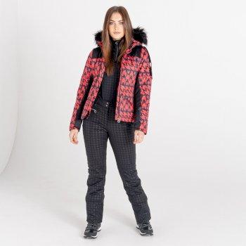 Mit Swarovski verziert- Prestige luxuriöse, wasserdichte, isolierte Skijacke mit Kapuze und Pelzbesatz für Damen Rot
