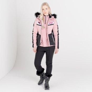 Mit Swarovski verziert - Dynamite luxuriöse, wasserdichte, isolierte Skijacke mit Kapuze und Pelzbesatz für Damen Rosa