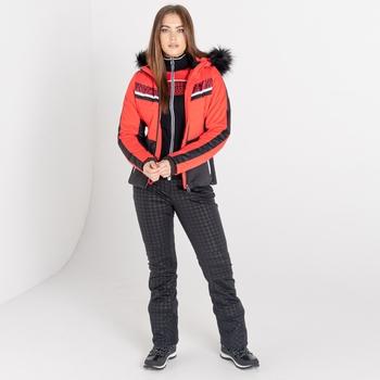 Mit Swarovski verziert - Dynamite luxuriöse, wasserdichte, isolierte Skijacke mit Kapuze und Pelzbesatz für Damen Rot