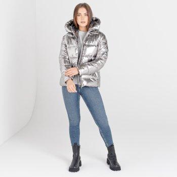 Mit Swarovski verziert - Influence luxuriöse, wasserdichte Steppjacke mit Kapuze für Damen Silber
