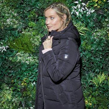 Mit Swarovski verziert - Reputable luxuriöse, wasserdichte, lang geschnittene Steppjacke mit Kapuze für Damen Schwarz