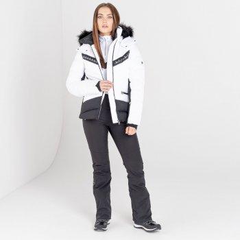Mit Swarovski verziert - Bejewel II luxuriöse, wasserdichte, isolierte Skijacke mit Kapuze und Pelzbesatz für Damen Weiß