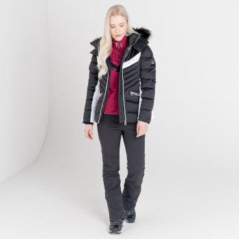Mit Swarovski verziert - Bejewel II luxuriöse, wasserdichte, isolierte Skijacke mit Kapuze und Pelzbesatz für Damen Schwarz
