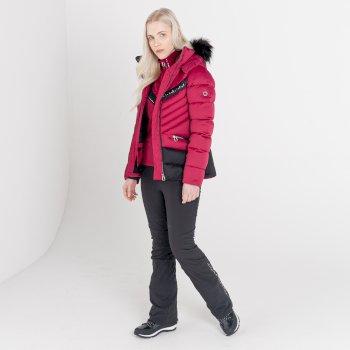 Mit Swarovski verziert - Bejewel II luxuriöse, wasserdichte, isolierte Skijacke mit Kapuze und Pelzbesatz für Damen Rosa