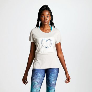 Dare2b Women's Emote Graphic Heart Print T-Shirt Argent Grey