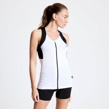 Regale Top mit durchgehendem Reißverschluss für Damen Weiß