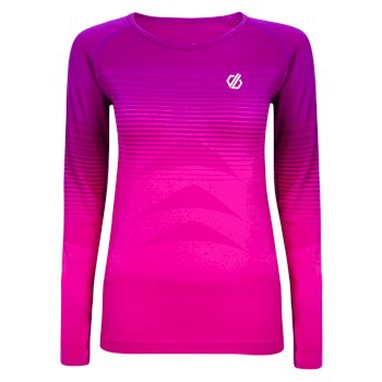 In The Zone Performance Langärmeliges Baselayer-Top für Damen Cyberpink Farbverlauf