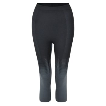 In The Zone Performance Baselayer-Leggings mit 3/4-Länge für Damen Schwarz