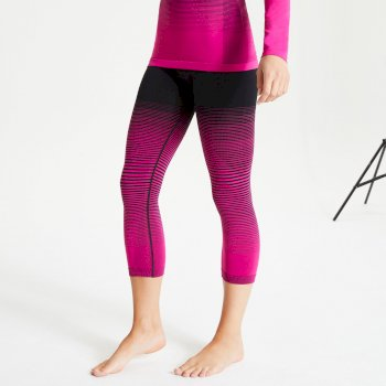 Dare 2b Women's In The Zone Performance Base Layer 3/4 Leggings - Active Pink Black