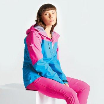 Surfiest Seamsmart - Damen Jacke - leicht & wasserdicht Blue Jewel Cyber Pink