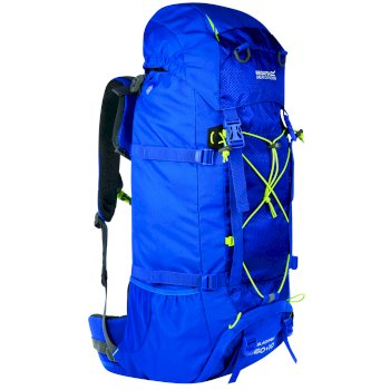 Regatta Blackfell II 60 + 10 Litre Expandable Backpack with Hydration Storage Pocket - Oxford Blue Lime Zest
