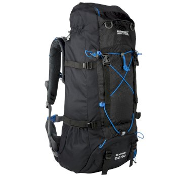 Regatta Blackfell II 60 + 10 Litre Expandable Backpack with Hydration Storage Pocket Black French Blue