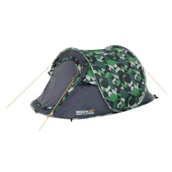 Regatta Malawi 2-Man Pop Up Print Festival Tent - Green Geometric Print