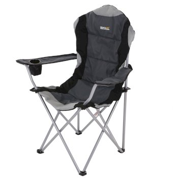 Regatta Kruza Padded Folding Camping Chair with Storage Bag Black Seal Grey