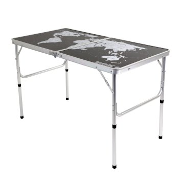 Regatta World Map Folding Games Table Black Silver