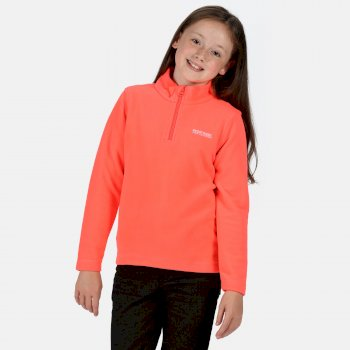 Kids' Hot Shot II Lightweight Half Zip Fleece Fiery Coral