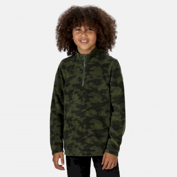 Regatta Kids Lovely Jubblie Lightweight Half Zip Printed Fleece - Racing Green Camo
