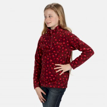 Regatta Kids Lovely Jubblie Lightweight Half Zip Printed Fleece - Fig Leopard