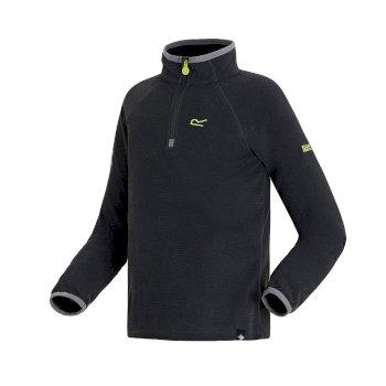 Loco leichtes Fleece mit Mini-Streifen und halblangem Reißverschluss für Kinder Seal Grey