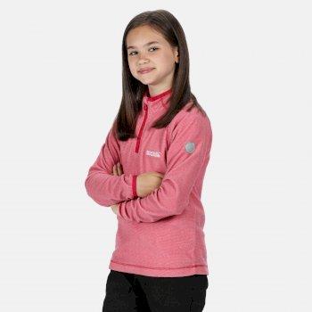 Loco - Kinder Fleece-Sweatshirt mit Reißverschluss - schmale Streifen Rosa