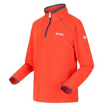Loco leichtes Fleece mit Mini-Streifen und halblangem Reißverschluss für Kinder Orange