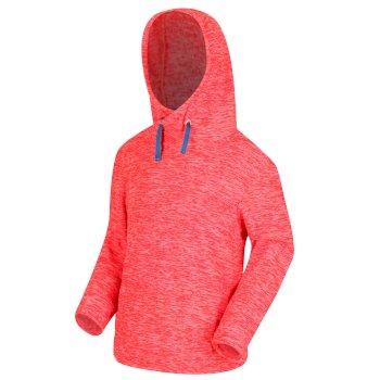 Kacie - Kinder Fleece-Sweatshirt mit Kapuze Koralle