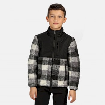 Regatta Kids' Myles Full Zip Heavyweight Fleece - Black Check