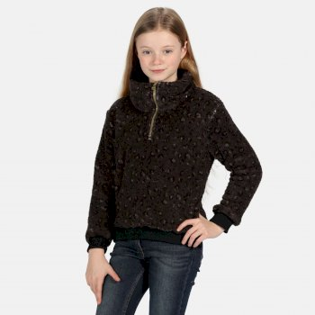 Kessie kuscheliges Fleece mit halblangem Reißverschluss für Kinder Schwarz